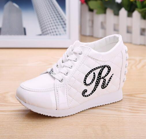 Hidden Wedge Heels Fashion Women's Elevator Shoes Casual Shoes For Women wedge heel Rhinestone 2017