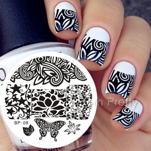 1pc Designs Available Born Pretty Stamping Plate  Lace Starfish & Shell Negative Space Leaves Flowers Animals Nail Template