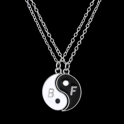 Charm Pendant Necklaces Eight Diagrams Black White Best Friends friendship Couples Lover Valentine Gift