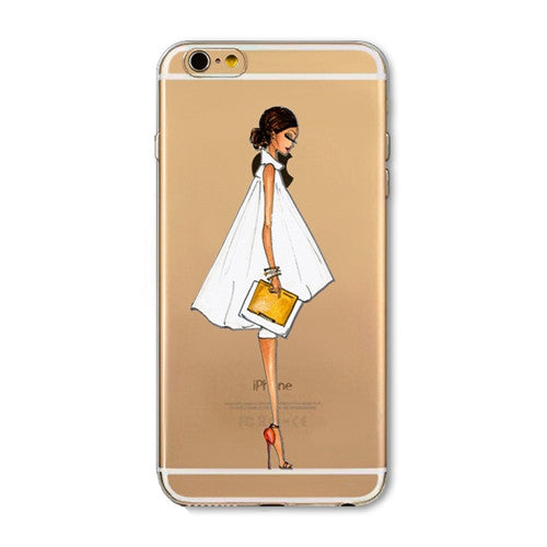 For iPhone 7 6 6S 5 5S SE 7Plus 6sPlus 4S Phone Case Cover Fashion Dress Shopping Girl Transparent Soft Silicon Mobile Phone Bag