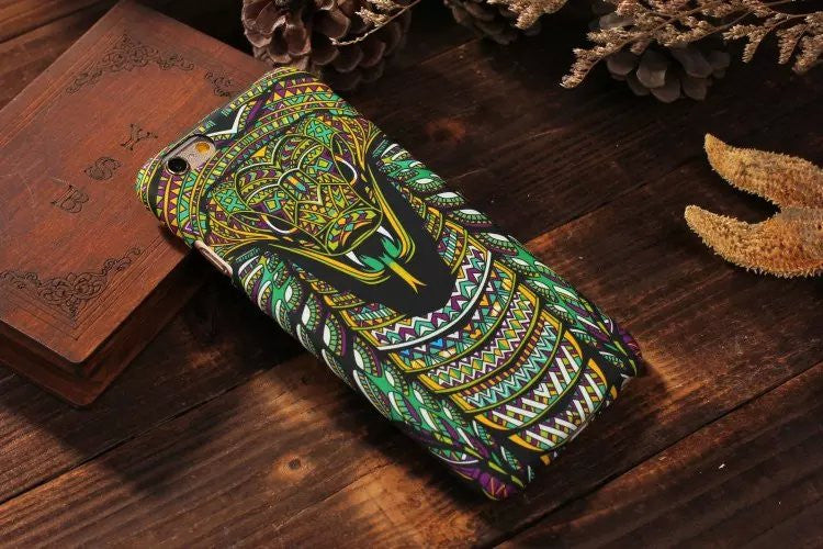 Luminous Embossed Feel Aztec Animal Elephant Chimpanzee Cat Deer Phone Case For Fundas Iphone 7 5 5S SE 6s 6Plus 7Plus Capa Para