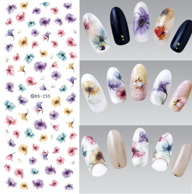 DS255Fantacy Flowers Nail Stickers Wraps Foil Sticker manicure