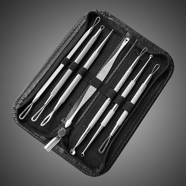 7Pcs Blackhead Extractor Tool Vacum Blackhead Remover Tweezer for Pimple Blemish Comedone Acne Extractor Black Spots Remover Kit