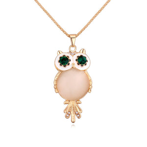 Fashion Charms Crystal Owl Pendants Bohemia Vintage Punk Gem Rhinestone Maxi Long Necklaces Women Jewelry Gift