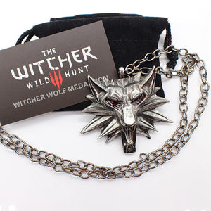 Top quality the Witcher pendant 2017 collier medallion wizard wolf wild hunt 3 Figure Game necklace + witcher 3 wolf necklace