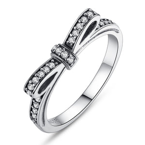 Authentic 925 Sterling Silver Sparkling Bow Knot Stackable Ring Micro Pave CZ for Women Wedding Jewelry