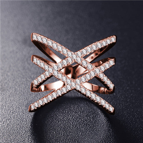 Hot! Fashion Rings for Women Double Letter X Shape Ring Zirconia Micro Paved Silver Plated Women Anel