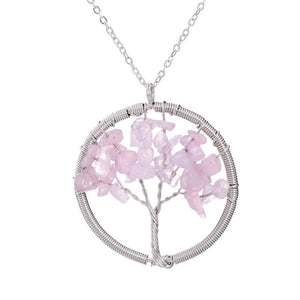 SEDmart Women Rainbow 7 Chakra Amethyst Tree Of Life Quartz Pendant Necklace Multicolor Wisdom Tree Natural Stone Necklace