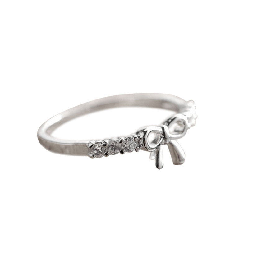 Luck Dog Korean Simple Crystal Bow Ring