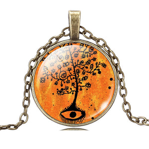 Life Tree Pendant Necklace Art Glass Cabochon Necklace Bronze Chain Vintage Choker Statement Necklace Women Jewelry