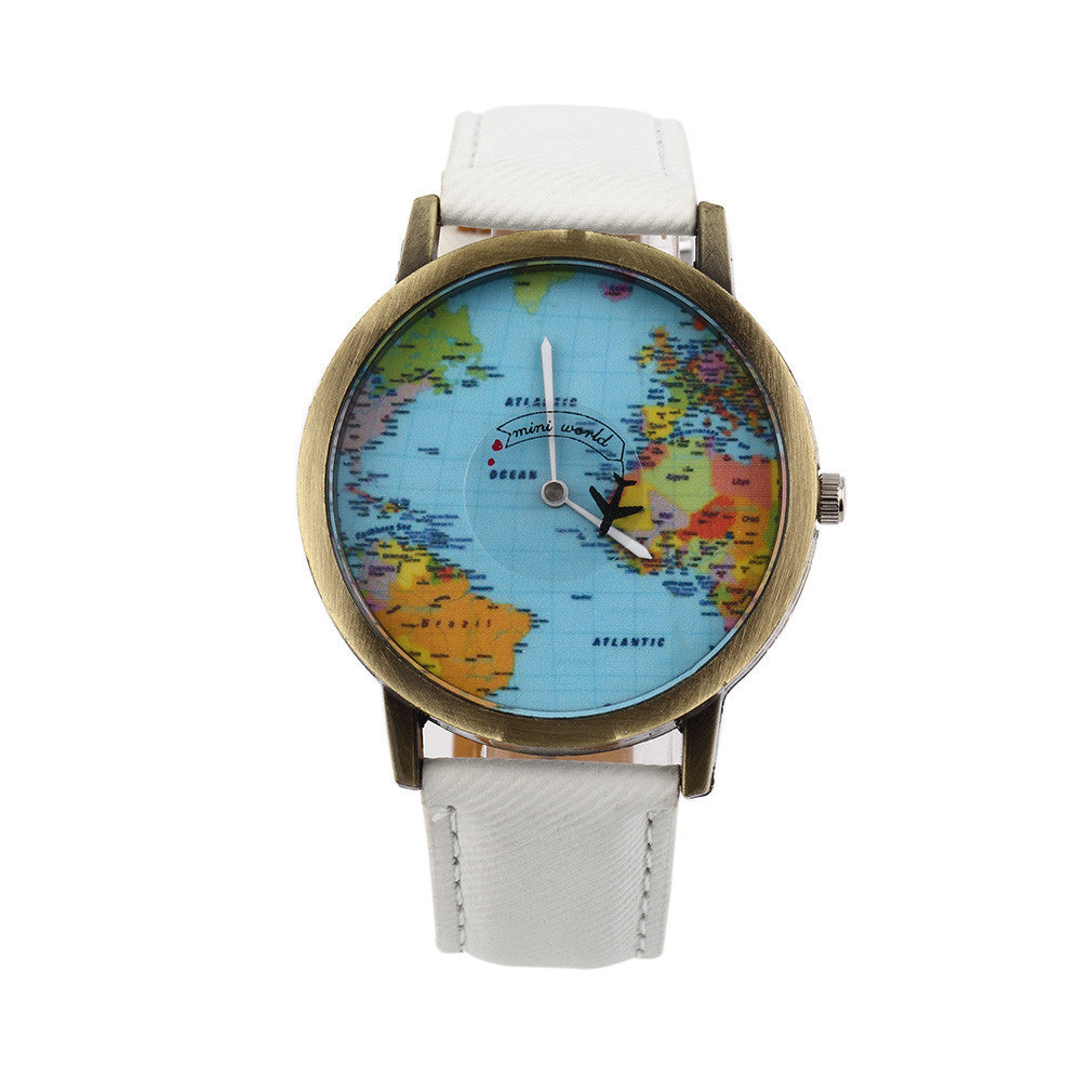Women Men Unisex Fashion Vintage Casual World Map watch By Airplane belt Dial Analog Quartz Wrist Watch for Children and adults