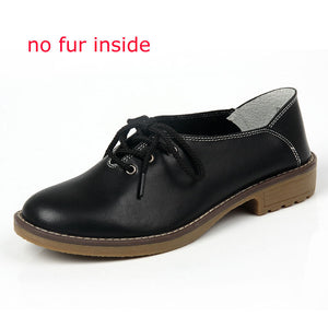 Women Shoes Genuine Leather Oxford Shoes For Women Flats Shoes Woman Moccasins Ballet Flats Zapatos Mujer Big Size 35-42