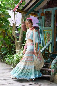 TURQUOISE TOP&MAXI SKIRT