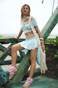 TURQUOISE TOP AND SHORT SKIRT