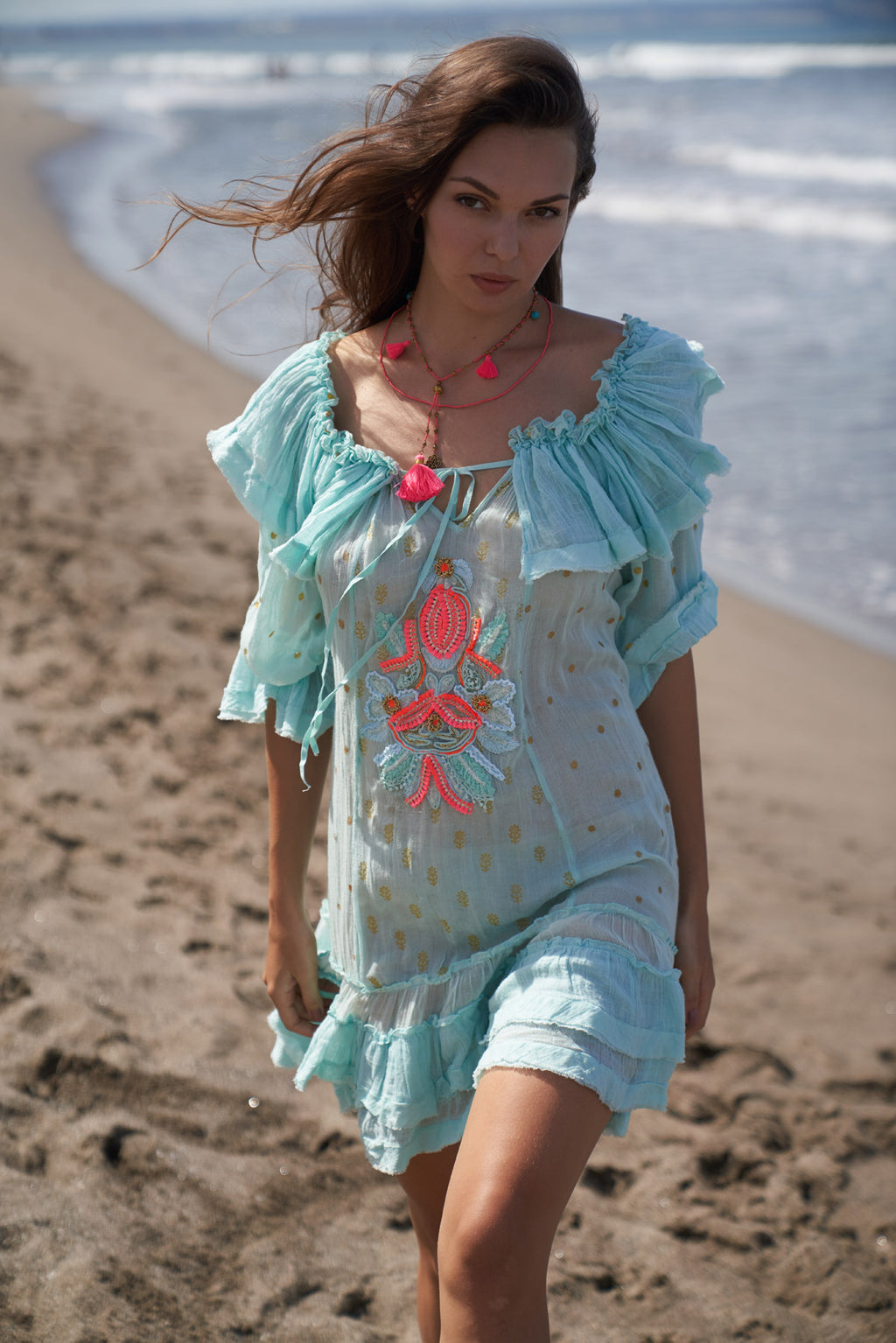 Boho style aqua blue dress with neon pink details