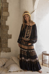 Hippie chic black blouse and black maxi skirt