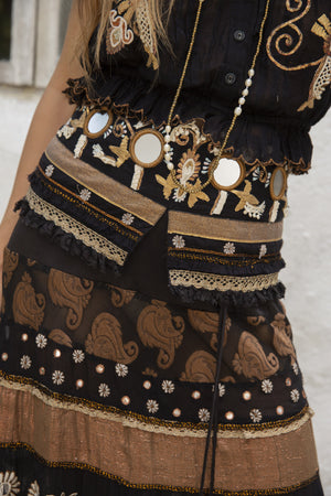 Boho style black top and black maxi skirt