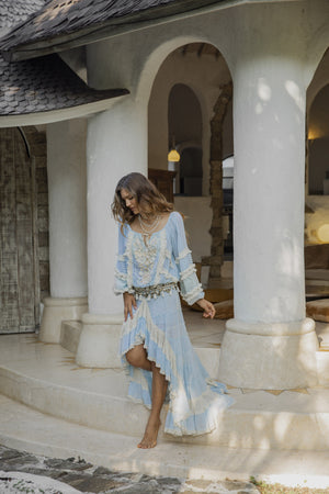 Hippie chic blue blouse and long blue skirt
