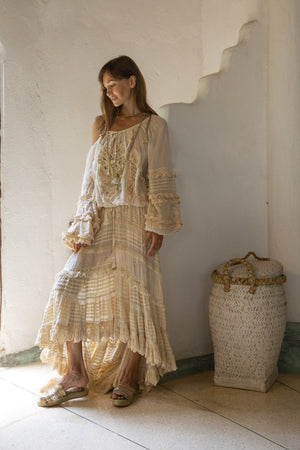 Bohemian ecru blouse and ecru maxi skirt