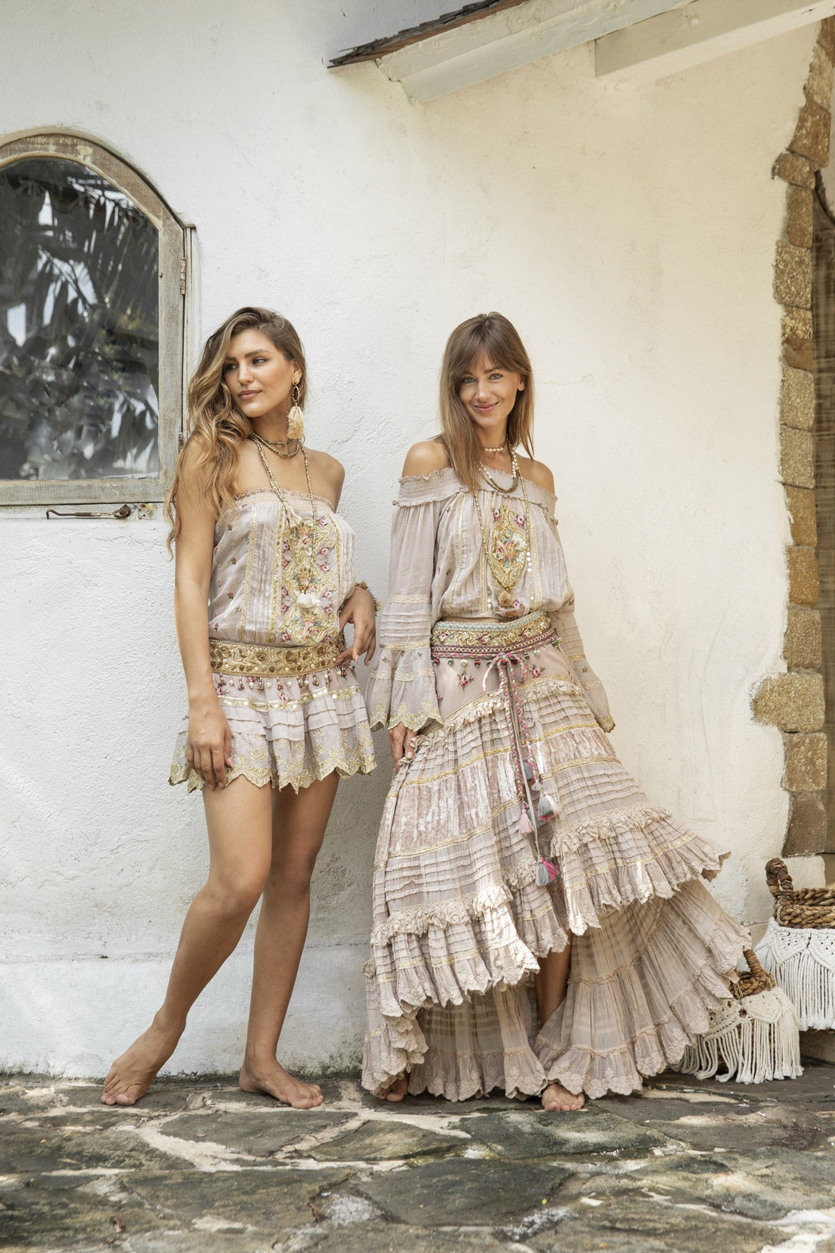 Boho style ecru blouse and ecru maxi skirt