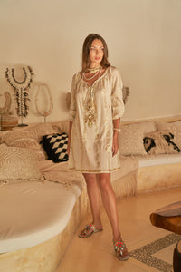 Boho style ecru dress with golden accents