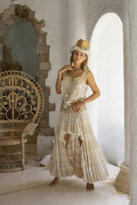 Boho style ecru embroidered top and ecru long skirt