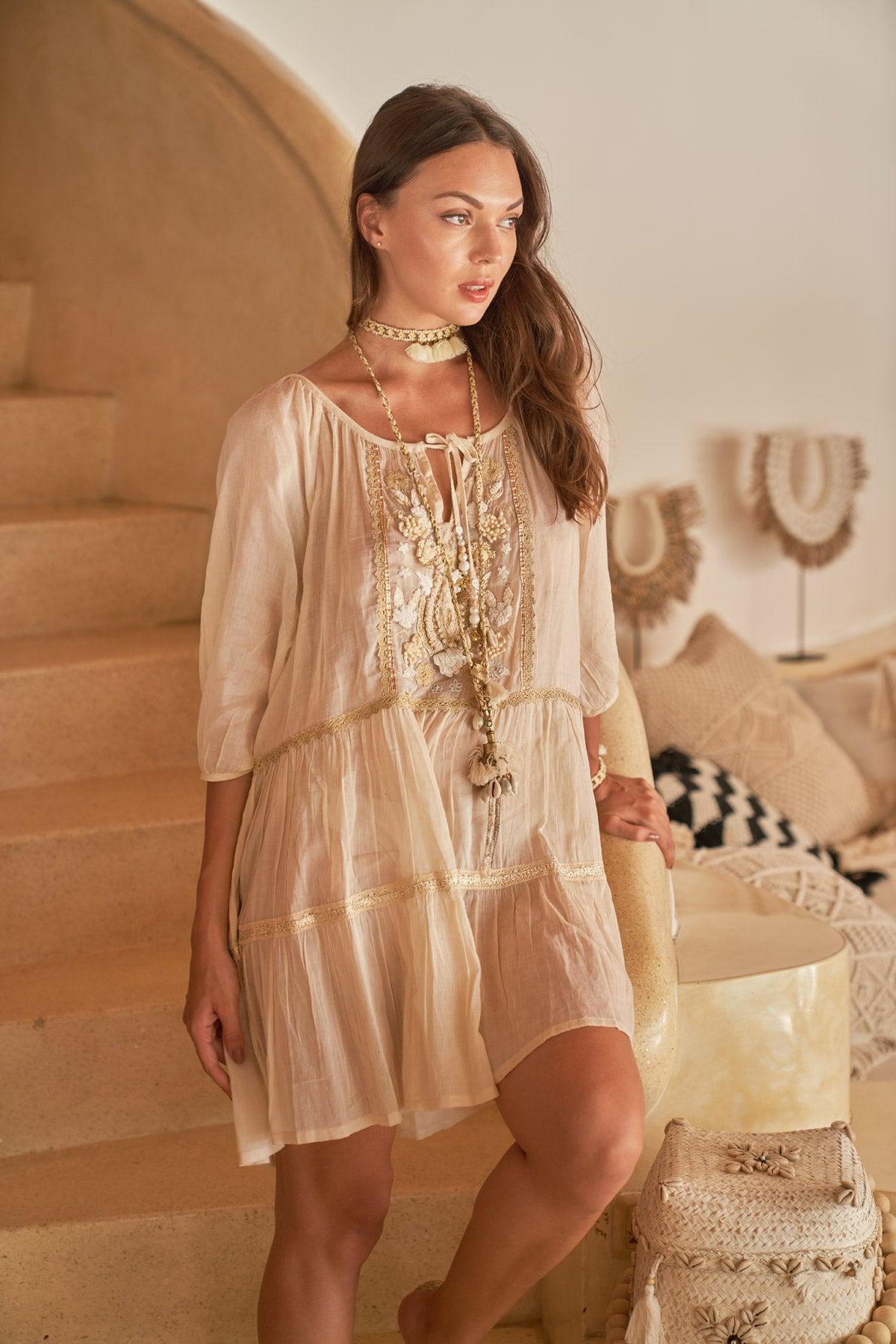 Boho style ecru short dress with embroidery