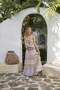 Boho style ecru top and ecru maxi skirt
