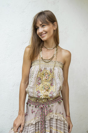 Hippie chic ecru top and long skirt