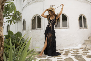 Boho style long black embroidered dress