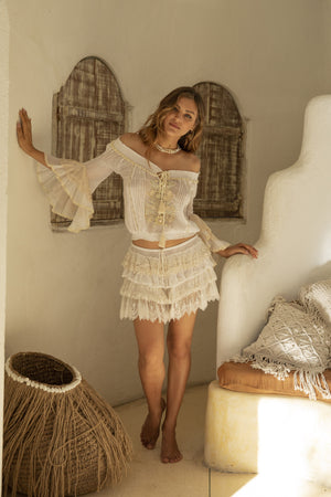 Boho style off white blouse and off white skirt