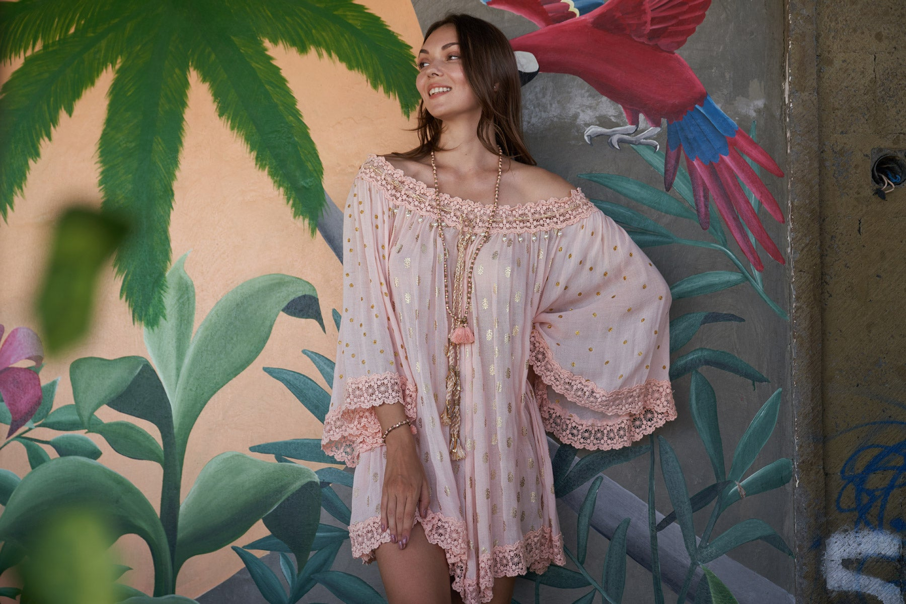 Boho style pink with golden print tunic dress