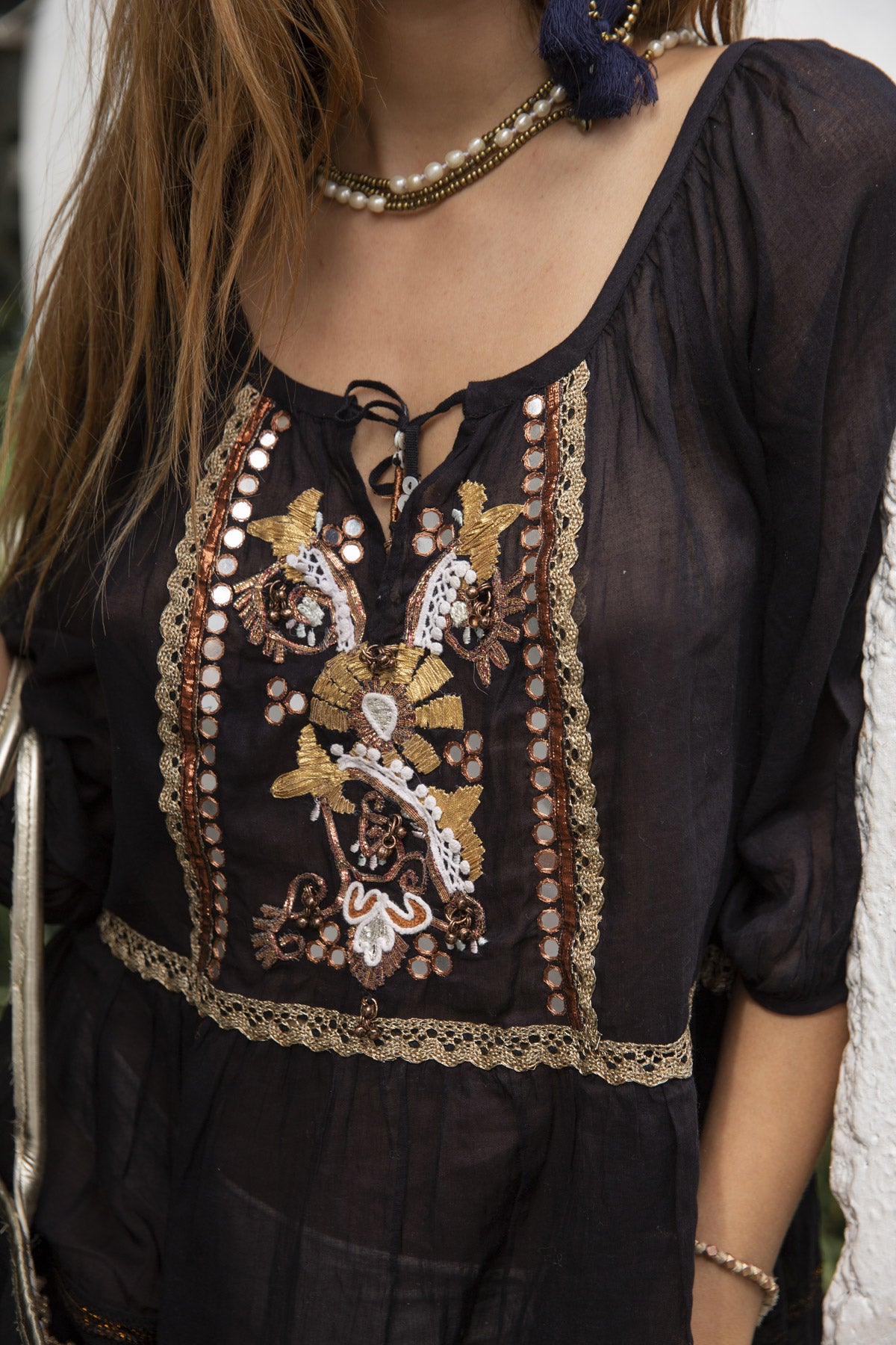 Boho style short black dress with embroidery
