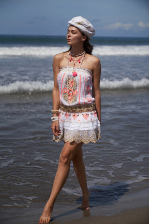 Boho style white dress with pink and golden embroidery