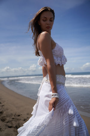 Boho style white top/bustier and white maxi skirt