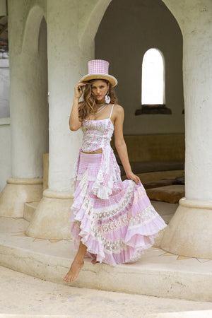 Pink and white top and pink and white long skirt