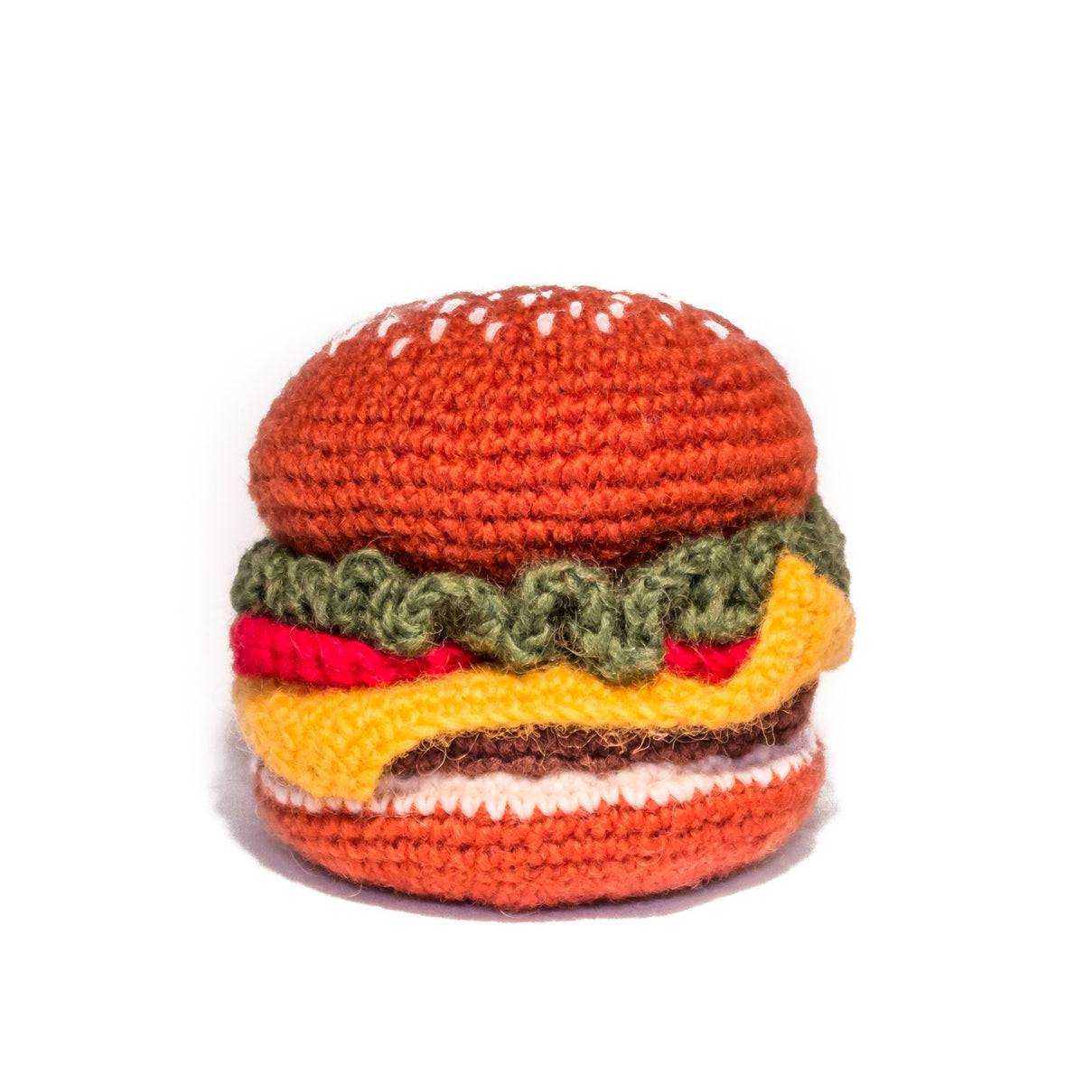 Hand Knit Hamburger Dog Toy