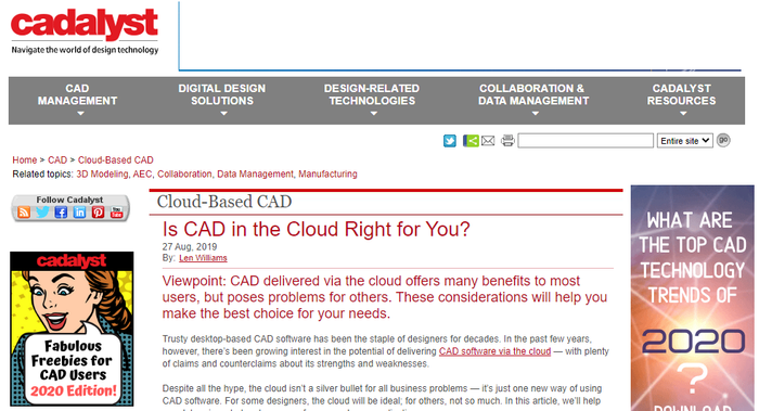 Cadalyst - Is CAD in the Cloud Right for you?