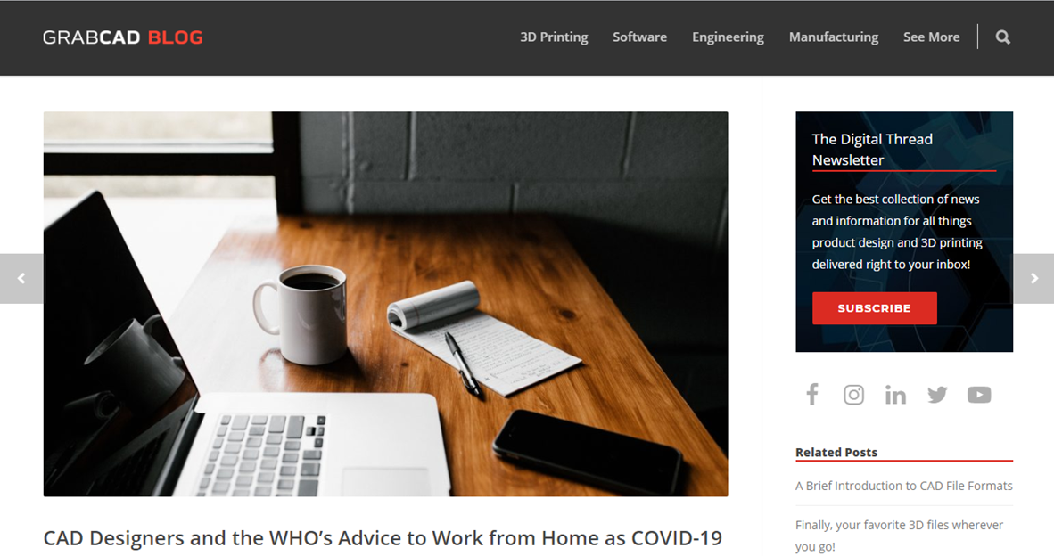 GrabCAD artcile - CAD designers and the WHO's advice to work from home