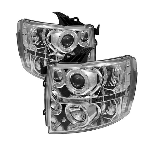 Spyder 5009500 Chrome Projector Headlights w/ LED Halo