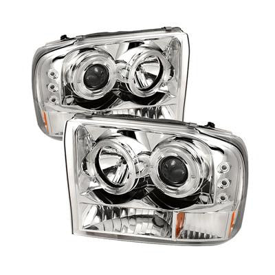 SPYDER 5010360 CHROME 1-PC. PROJECTOR HEADLIGHTS W/ LED HALO