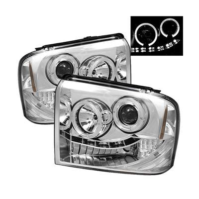 SPYDER 5010551 CHROME PROJECTOR HEADLIGHT W/ LED HALO