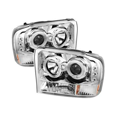 SPYDER 5030139 CHROME 1-PC. PROJECTOR HEADLIGHTS W/ CCFL HALO