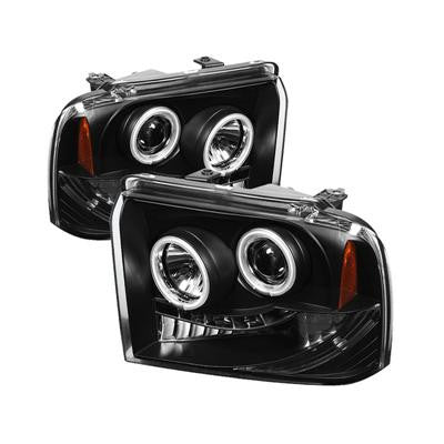 SPYDER 5030146 BLACK PROJECTOR HEADLIGHTS W/ CCFL HALO