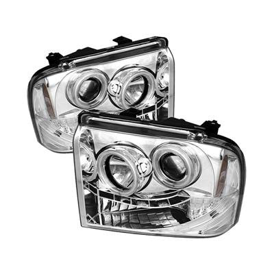 SPYDER 5030153 CHROME PROJECTOR HEADLIGHTS W/ CCFL HALO