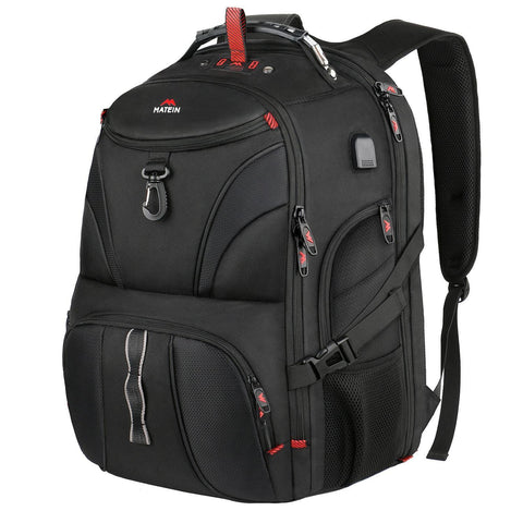 Matein Scale Flight Friendly Anti-Theft Travel Backpack (Built-In Scale) - Black