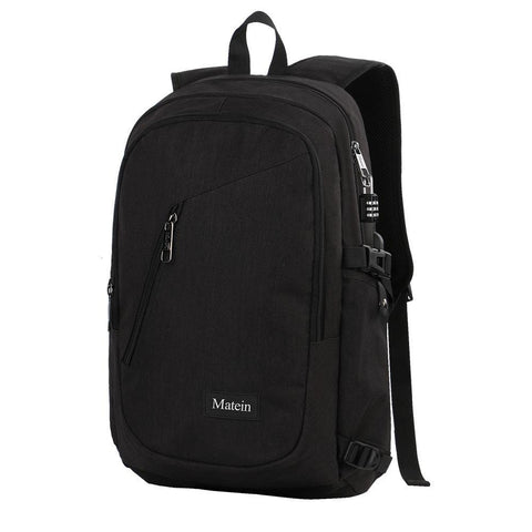 "Matein Slim Anti-Theft Laptop Backpack w/ Charging Port (Fits 15"" Laptop)  - Black"