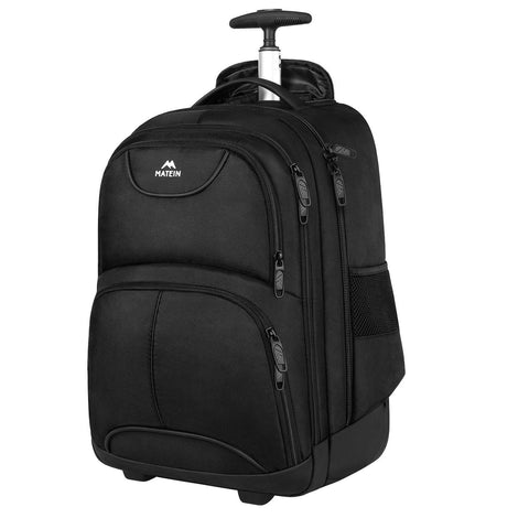 "Matein Wheeled Rolling Laptop Backpack (Fits 15.6"" Laptops) - Black"