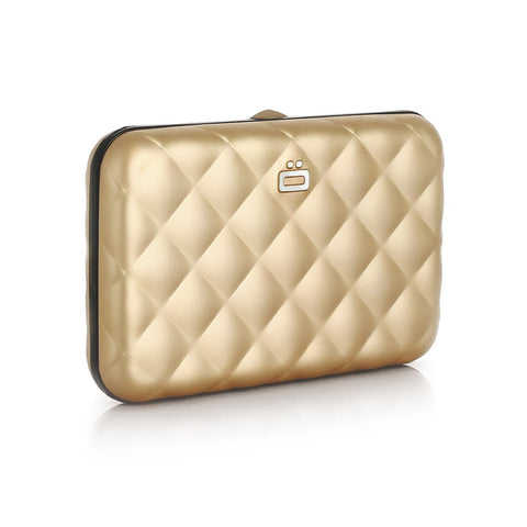 Ogon Quilted Button Card Holder RFID Safe - Rose Gold