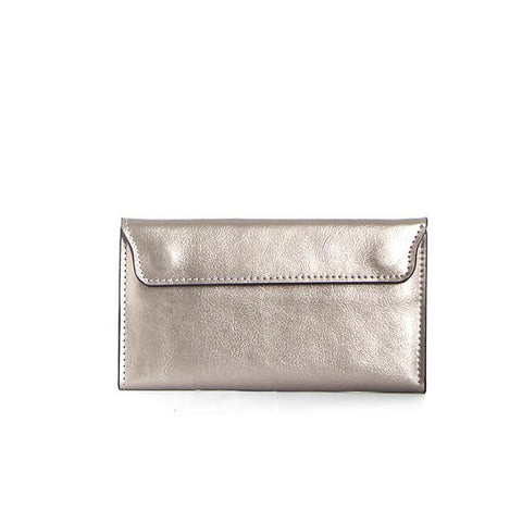 Dazz Calf Leather Magnetic Flap Wallet - Silver